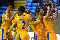 Joe Garner of Wigan Athletic 2nd right  and Wigan captain Sam Morsy celebrate the second goal with the Wigan fans during Reading vs Wigan Athletic, Sky Bet EFL Championship Football at the Madejski Stadium on 9th March 2019