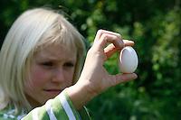 Kind hält eine Hühnerei in den Händen, Hühner-Ei, Ei, Eier