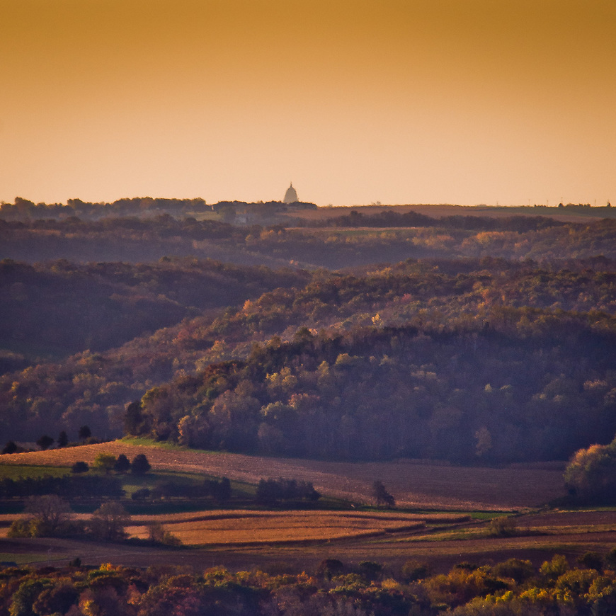 The Capitol in Madison, Wisconsin as seen from Wawanissee Point, the highest point in the Baraboo Hills more than 20 miles away