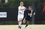 02 December 2007: Wake Forest's Jamie Franks (l) and West Virginia's Mike Anoia (15). The Wake Forest University Demon Deacons defeated the West Virginia University Mountaineers 3-1 at W. Dennie Spry Soccer Stadium in Winston-Salem, North Carolina in a Third Round NCAA Division I Mens Soccer Tournament game.