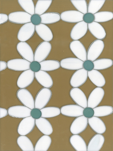 Daisies, a glass waterjet mosaic shown in Aalto, Serpentine and Moonstone, is part of the Erin Adams Collection for New Ravenna.