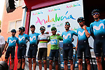 Movistar Team lead the team classification at sign on before the start of Stage 3 of La Vuelta 2019 running 188km from Ibi. Ciudad del Juguete to Alicante, Spain. 26th August 2019.<br /> Picture: Colin Flockton | Cyclefile<br /> <br /> All photos usage must carry mandatory copyright credit (© Cyclefile | Colin Flockton)