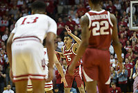 NWA Democrat-Gazette/CHARLIE KAIJO Arkansas Razorbacks guard Jalen Harris (5) gestures during the first half of the NCAA National Invitation Tournament, Saturday, March 23, 2019 at the Simon Skjodt Assembly Hall at the University of Indiana in Bloomington, Ind. The Arkansas Razorbacks fell to the Indiana Hoosiers 63-60.