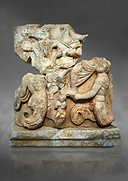 Roman Sebasteion relief  sculpture of Poseidon and Amphitrite,  Aphrodisias Museum, Aphrodisias, Turkey.  Against a grey background.<br /> <br /> The two god-like tritons, Poseidon and Amphitrite, are seated on two sea horses accompanied by two fish legged tritons below. Between the tritons sits a sea-putto of baby triton. The male god is in the form of Poseidon crowned by his wife Amphitrite. Unusually he wears a military cloak and they might be an emperor and his wife (such as Claudius and Agrippina) in the guise of Poseidon and Amphitrite