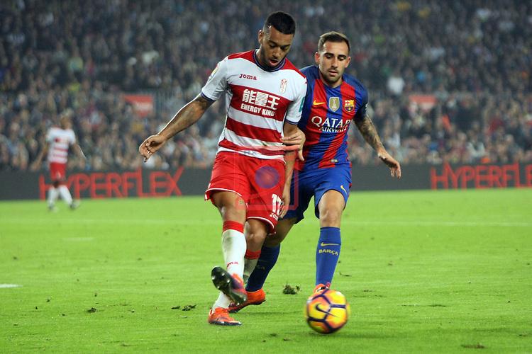 League Santander 2016/2017. Game: 10.<br /> FC Barcelona vs Granada CF: 1-0.<br /> Ruben Vezo vs Paco Alcacer.