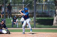 Los Angeles Dodgers infielder Luke Heyer (13) at bat in front of catcher Blake Hunt (12) during an Instructional League game against the San Diego Padres at Camelback Ranch on September 25, 2018 in Glendale, Arizona. (Zachary Lucy/Four Seam Images)