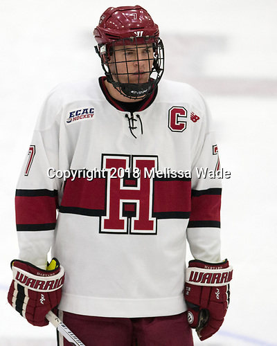 Eddie Ellis (Harvard - 7) - The visiting Colgate University Raiders shut out the Harvard University Crimson for a 2-0 win on Saturday, January 27, 2018, at Bright-Landry Hockey Center in Boston, Massachusetts.