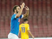 durante l'incontro di calcio di Serie A   Napoli -Sampdoria allo  Stadio San Paolo  di Napoli , 30 Agosto 2015