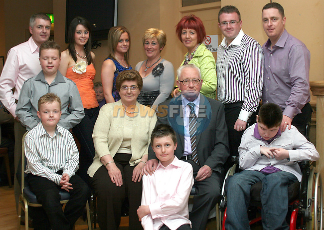 Rose and Patsy Rice with their children and grandchildren at their 50th Wedding Anniversary in The Thatch...Photo NEWSFILE/Jenny Matthews.(Photo credit should read Jenny Matthews/NEWSFILE)....This Picture has been sent you under the condtions enclosed by:.Newsfile Ltd..The Studio,.Millmount Abbey,.Drogheda,.Co Meath..Ireland..Tel: +353(0)41-9871240.Fax: +353(0)41-9871260.GSM: +353(0)86-2500958.email: pictures@newsfile.ie.www.newsfile.ie.FTP: 193.120.102.198.
