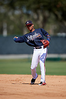 Atlanta Braves Derian Cruz (4) throws to first base during an Instructional League game against the Detroit Tigers on October 10, 2017 at the ESPN Wide World of Sports Complex in Orlando, Florida.  (Mike Janes/Four Seam Images)