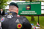 LONDON, ENGLAND, 22 May ,2014.  A Biker pays his respects  outside Woolwich Barracks to mark the first anniversary of the murder of Fusilier Lee Rigby near his Woolwich barracks.