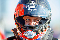 Jul 8, 2016; Joliet, IL, USA; NHRA funny car driver Chad Head during qualifying for the Route 66 Nationals at Route 66 Raceway. Mandatory Credit: Mark J. Rebilas-USA TODAY Sports