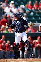 Detroit Tigers catcher Jarrod Saltalamacchia (39) throws the ball back to the pitcher during an exhibition game against the Florida Southern Moccasins on February 29, 2016 at Joker Marchant Stadium in Lakeland, Florida.  Detroit defeated Florida Southern 7-2.  (Mike Janes/Four Seam Images)