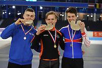 SCHAATSEN: HEERENVEEN: 04-02-2017, KPN NK Junioren, Junioren B Heren, Janno Botman, Jesse Stam, ©foto Martin de Jong