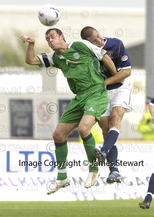 15/09/2007       Copyright Pic: James Stewart.File Name : sct_jspa15_falkirk_v_hibernian.STEVEN FLETCHER GETS ABOVE GERARD AAFJES.....James Stewart Photo Agency 19 Carronlea Drive, Falkirk. FK2 8DN      Vat Reg No. 607 6932 25.Office     : +44 (0)1324 570906     .Mobile   : +44 (0)7721 416997.Fax         : +44 (0)1324 570906.E-mail  :  jim@jspa.co.uk.If you require further information then contact Jim Stewart on any of the numbers above........