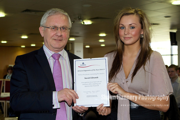 Pix: Shaun Flannery/shaunflanneryphotography.com...COPYRIGHT PICTURE>>SHAUN FLANNERY>01302-570814>>07778315553>>..31st March 2011..............Doncaster Metropolitan Borough Council (DMBC) Annual Apprenticeship Framework Award Ceremony, The Keepmoat Stadium..Sarah Edwards, Advanced Apprentice of the Year 2010/11 with Peter Davies, The Mayor of Doncaster.