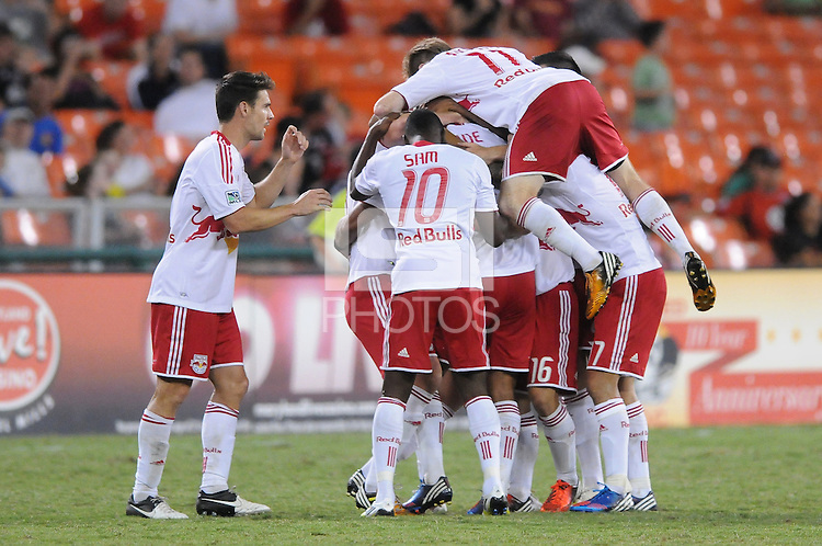 New York Red Bulls defender Willman Conde (2) celebrates his score with teammates. The New York Red Bulls tied D.C. United 2-2 at RFK Stadium, Wednesday August 29, 2012.