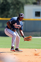 Atlanta Braves first baseman William Beckwith #27 during warmups before an Instructional League game against the Pittsburgh Pirates at Pirate City on October 14, 2011 in Bradenton, Florida.  (Mike Janes/Four Seam Images)