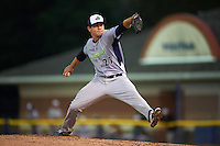 Vermont Lake Monsters pitcher Dustin Driver (27) delivers a pitch during the second game of a doubleheader against the Batavia Muckdogs August 11, 2015 at Dwyer Stadium in Batavia, New York.  Batavia defeated Vermont 1-0.  (Mike Janes/Four Seam Images)