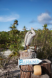 EXUMA, Bahamas. A sign at the Fowl Cay Resort.