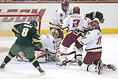 The Vermont no-goal - the official ruled no-goal as he lost sight of the puck.  Torrey Mitchell, Cory Schneider, Mike Brennan, Anthony Aiello, Matt Syroczynski, Brian Boyle.  The Boston College Eagles completed a shutout sweep of the University of Vermont Catamounts on Saturday, January 21, 2006 by defeating Vermont 3-0 at Conte Forum in Chestnut Hill, MA.
