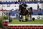 August 09, 2009: Eventual winner Toni Hassman (GER) aboard Lolita H competing in the Grand Prix event. Longines International Grand Prix. Failte Ireland Horse Show. The RDS, Dublin, Ireland.