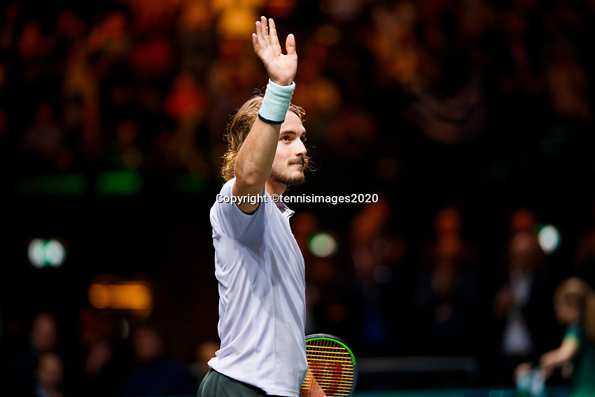 Rotterdam, The Netherlands, 11 Februari 2020, ABNAMRO World Tennis Tournament, Ahoy, <br /> Stefanos Tsitsipas (GRE) celebrates his win.<br /> Photo: www.tennisimages.com