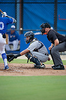 GCL Tigers West catcher Eduardo Valencia (14) and umpire Jacob McConnell during a Gulf Coast League game against the GCL Blue Jays on August 3, 2019 at the Englebert Complex in Dunedin, Florida.  GCL Blue Jays defeated the GCL Tigers West 4-3.  (Mike Janes/Four Seam Images)