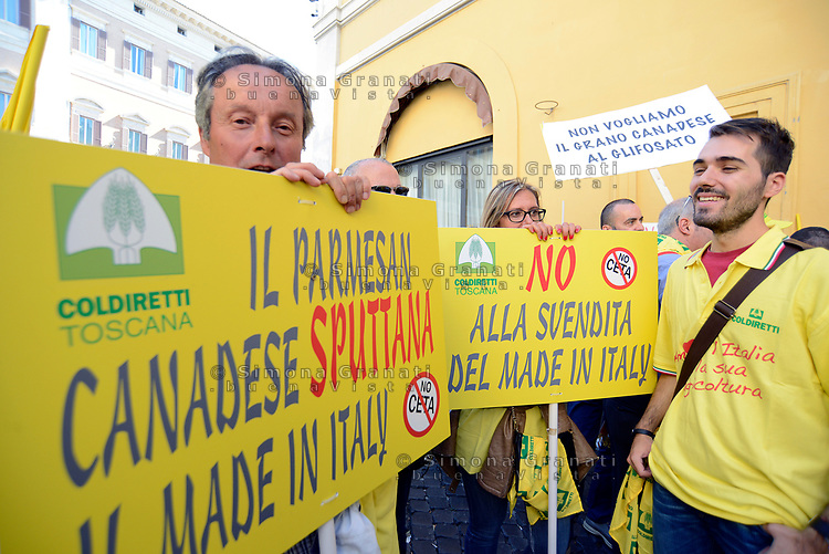 Roma, 5 Luglio 2017<br /> Manifestazione a Montecitorio contro il CETA, Comprehensive Economic and Trade Agreement, tra Europa e Canada in difesa del Made in Italy.<br /> National Protest in Rome in front of the italian Parliament against CETA, The Comprehensive Economic and Trade Agreement between Canada and the European Union