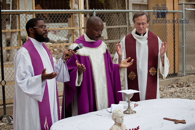 Fr. John Jenkins concelebrates mass with C.S.C. priests on the grounds of the Ecole Pere Basil Moreau in Port-Au-Prince, Haiti...Photo by Matt Cashore/University of Notre Dame