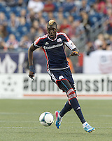 New England Revolution forward Saer Sene (39) at midfield.  In a Major League Soccer (MLS) match, the New England Revolution (blue) tied D.C. United (white), 0-0, at Gillette Stadium on June 8, 2013.
