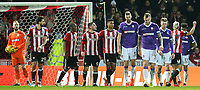 The Bolton Wanderers played react after Brentford's Neal Maupay made it 2-0 <br /> <br /> Photographer Alex Dodd/CameraSport<br /> <br /> The EFL Sky Bet Championship - Brentford v Bolton Wanderers - Saturday 13th January 2018 - Griffin Park - Brentford<br /> <br /> World Copyright &copy; 2018 CameraSport. All rights reserved. 43 Linden Ave. Countesthorpe. Leicester. England. LE8 5PG - Tel: +44 (0) 116 277 4147 - admin@camerasport.com - www.camerasport.com