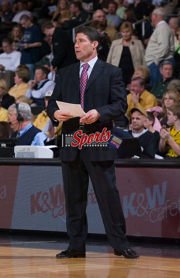 Wake Forest Demon Deacons head coach Dino Gaudio during second half action versus the Radford Highlanders at the LJVM Coliseum December 30, 2008 in Winston-Salem, NC. (Photo by Brian Westerholt / Sports On Film)