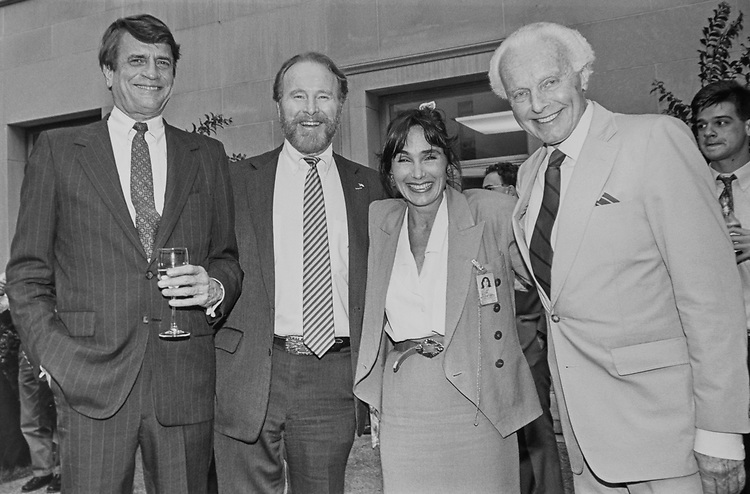 Rep. Tom Lantos, D-Calif., with Rep. Charlie Wilson, D-Tex., Sally Ogden and Rep. Bob Dornan, R-Calif., at People for the Ethical Treatment of Animals (PETA) event, on June 06, 1991. (Photo by Laura Patterson/CQ Roll Call via Getty Images)