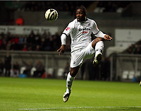 ATTENTION SPORTS PICTURE DESK<br /> Pictured: jason Scotland of Swansea controls the ball from a cross by team mate Angel Rangel<br /> Re: Coca Cola Championship, Swansea City FC v Plymouth Argyle at the Liberty Stadium, Swansea, south Wales. 10 March 2009.<br /> Picture by D Legakis Photography / Athena Picture Agency, Swansea 07815441513