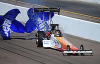 Feb. 18, 2012; Chandler, AZ, USA; NHRA top fuel dragster driver Clay Millican during qualifying for the Arizona Nationals at Firebird International Raceway. Mandatory Credit: Mark J. Rebilas-