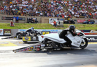 Jul. 19, 2013; Morrison, CO, USA: NHRA pro stock motorcycle rider Steve Johnson during qualifying for the Mile High Nationals at Bandimere Speedway. Mandatory Credit: Mark J. Rebilas-