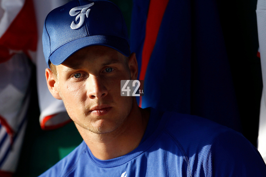 21 June 2011: Gregory Cros of Team France is seen during Czech Republic 3-1 win over France, at the 2011 Prague Baseball Week, in Prague, Czech Republic.