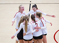 STANFORD, CA - November 4, 2018: Kathryn Plummer, Michaela Keefe, Holly Campbell, Mackenzie Fidelak, Jenna Gray, Morgan Hentz at Maples Pavilion. No. 2 Stanford Cardinal defeated the Utah Utes 3-0.