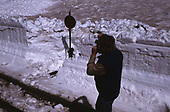 Photographer taking picture of C&amp;TS switch stand in snow cut at Cumbres.<br /> C&amp;TS  Cumbres, CO