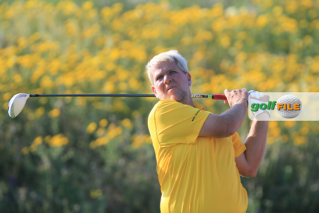 John Daly (USA) on the 18th tee on Day 2 of the 2012 Sicilian Open at Verdura Golf and Spa Resort, Sicily, Italy...(Photo Jenny Matthews/www.golffile.ie)