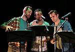 "Alex Gibson, Blaine Alden Krauss and Zach Adkins during the New York Musical Festival production of  ""Alive! The Zombie Musical"" at the Alice Griffin Jewel Box Theatre on July 29, 2019 in New York City."