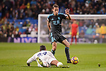 Real Madrid's Danilo Luiz Da Silva and Real Sociedad's Sergio Canales during La Liga match between Real Madrid and Real Sociedad at Santiago Bernabeu Stadium in Madrid, Spain. January 29, 2017. (ALTERPHOTOS/BorjaB.Hojas)