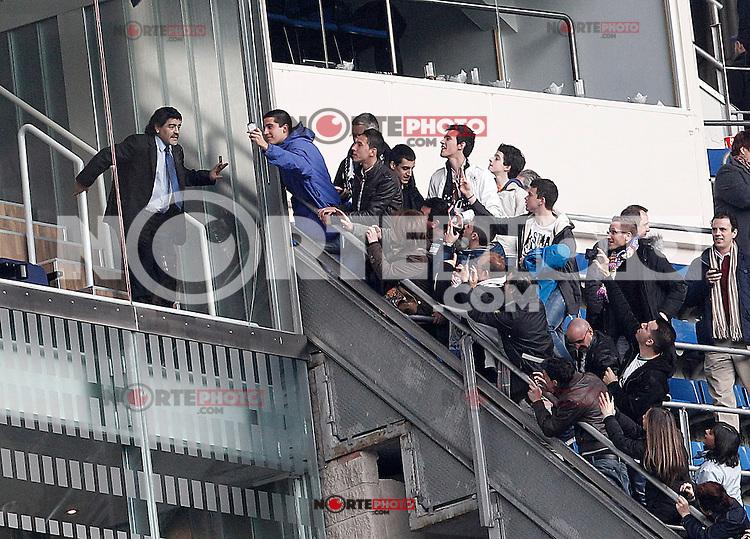 Football star Diego Armando Maradona with his fans during La Liga match.March 02,2013. (ALTERPHOTOS/Acero) /NortePhoto