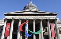 London - Paralympics symbols - three agitos - at the National Gallery, London - August 28th 2012..Photo by Bob Kent.