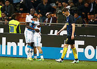 Kalidou Koulibaly  and Lorenzo Insigne  during the  italian serie a soccer match,between Inter FC  and SSC Napoli      at  the San Siro   stadium in Milan  Italy , April  30, 2017