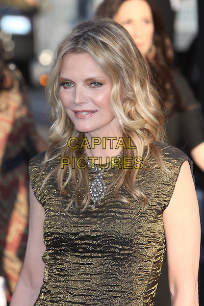 Michelle Pfeiffer.'Dark Shadows' Los Angeles premiere held at Grauman's Chinese Theatre, Hollywood, California, USA..7th May 2012.headshot portrait gold black dress half length silver necklace .CAP/ADM/CH.©Charles Harris/AdMedia/Capital Pictures