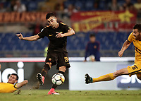 Calcio, Serie A: Roma, stadio Olimpico, 16 settembre 2017.<br /> Roma's Stephan El Shaarawy (l) in action with Verona's Thomas Hertaux (r) during the Italian Serie A football match between AS Roma and Hellas Verona at Rome's Olympic stadium, September 16, 2017.<br /> UPDATE IMAGES PRESS/Isabella Bonotto