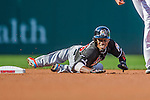 19 September 2015: Miami Marlins second baseman Dee Gordon in action against the Washington Nationals at Nationals Park in Washington, DC. The Marlins fell to the Nationals 5-2 in the third game of their 4-game series. Mandatory Credit: Ed Wolfstein Photo *** RAW (NEF) Image File Available ***