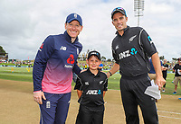 ANZ coin toss promo winner, Aidan Hogg, Black Caps v England, second international cricket ODI, Bay Oval, Tauranga, New Zealand. Wednesday, 28 February, 2018. Copyright photo: John Cowpland / www.photosport.nz